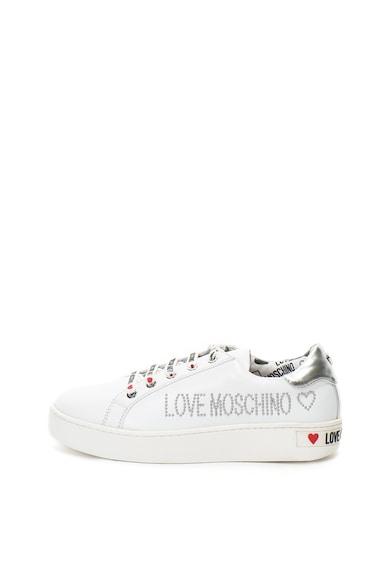 Love Moschino Pantofi sport de piele cu logo cu margele Femei