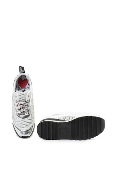 Love Moschino Műbőr sneakers cipő fémes részletekkel női