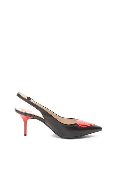 Love Moschino Sarokpántos bőrcipő logós foltrátéttel női