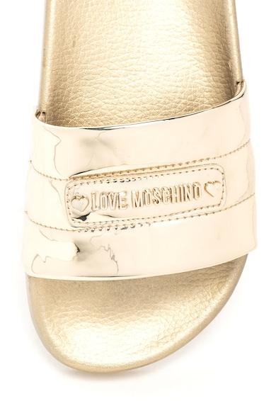 Love Moschino Fémes hatású papucs fémlogós rátéttel női