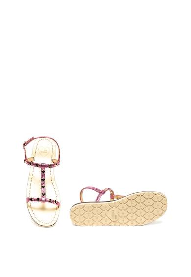 Love Moschino Sandale cu barete multiple si aspect metalizat Femei