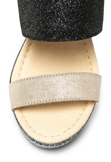 Big Star Sandale de piele intoarsa, cu aspect stralucitor si toc masiv Femei