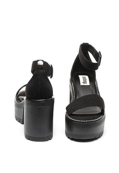 MTNG Sandale de piele intoarsa ecologica, cu toc masiv Femei