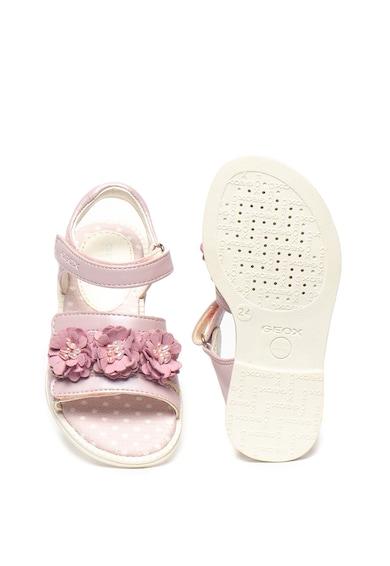 Geox Sandale de piele ecologica cu detalii florale Karly Fete