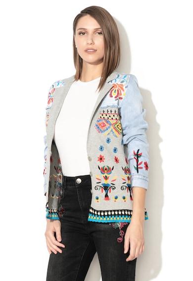 DESIGUAL Jacheta din denim si tricot cu broderii Ginebra Femei