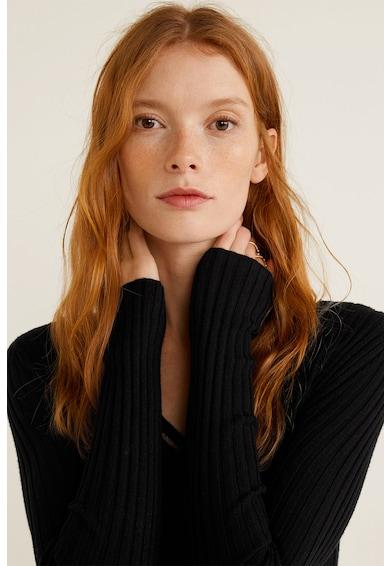 Mango Envoy V-nyakú bordázott pulóver női