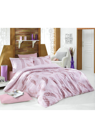 Nazenin Home Lenjerie de pat  100% bumbac satinat, 200x220 cm, roz pudra Femei