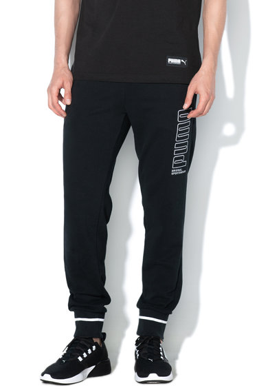 Puma Pantaloni sport cu broderie logo, pentru antrenament Athletics Barbati