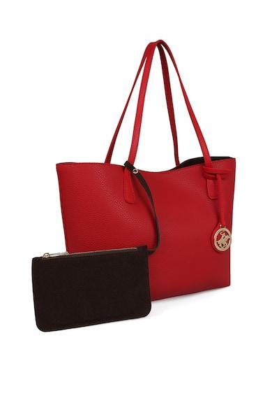 Beverly Hills Polo Club Шопинг чанта от еко кожа с велур и несесер Жени