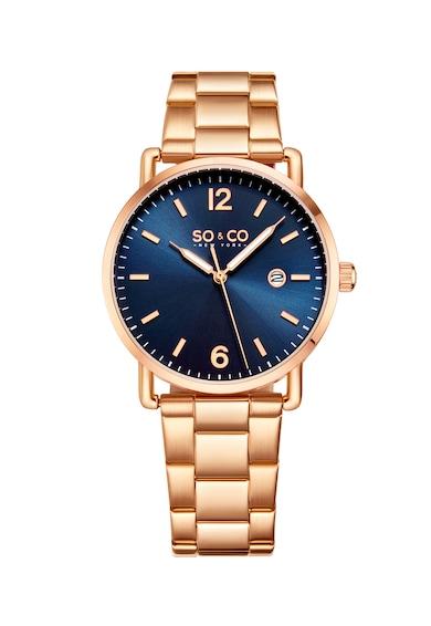 SO&CO New York Овален кварцов часовник със стоманена верижка Мъже