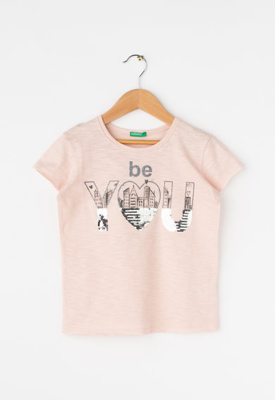 United Colors of Benetton Tricou cu imprimeu text cu paiete Fete