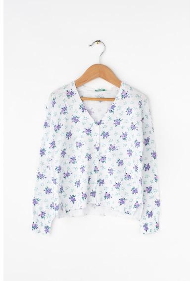 United Colors of Benetton Cardigan tricotat fin cu model floral Fete