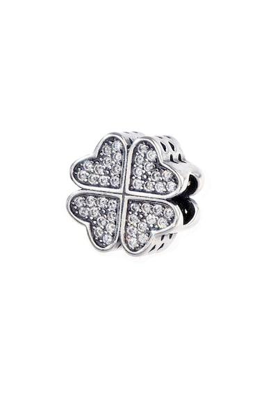 Rankine-Silver Talisman de argint, in forma de trifoi decorat cu cristale zirconia Femei