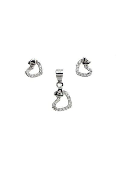 Rankine-Silver Set de pandantiv si cercei de argint in forma de inima, cu cristale Femei