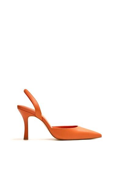 Mango Pantofi slingback de piele, cu varf ascutit Bailen Femei