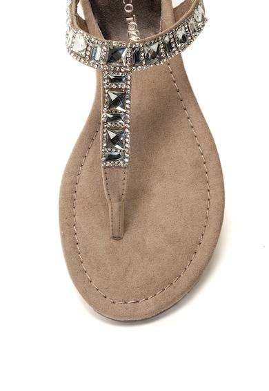 Marco Tozzi Sandale din material textil cu bareta in forma de T si strasuri Femei