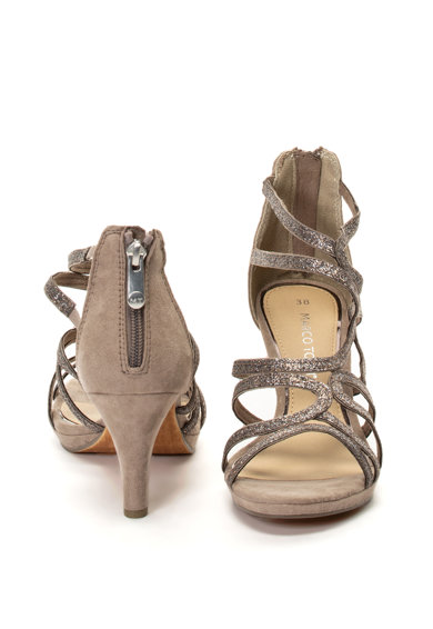 Marco Tozzi Sandale de piele intoarsa ecologica cu aspect stralucitor Femei