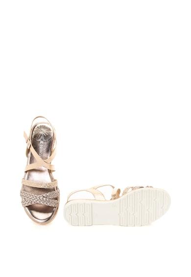 Marco Tozzi Sandale de piele ecologica si material textil cu aspect reptila Femei