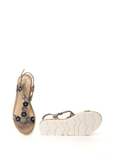 Marco Tozzi Sandale de piele ecologica cu aplicatii florale Femei