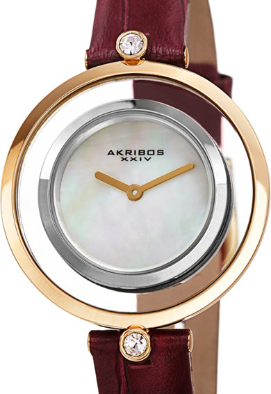 AKRIBOS XXIV Ceas cu cadran sidefat si cristale Femei