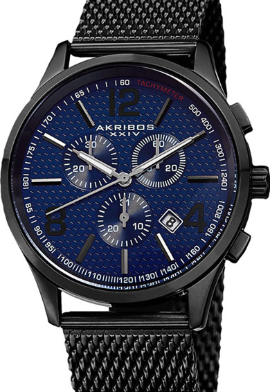 AKRIBOS XXIV Ceas cronograf analog cu bratara cu model plasa Barbati