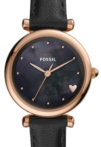 Fossil Часовник Carlie с кожена каишка и гривна Жени