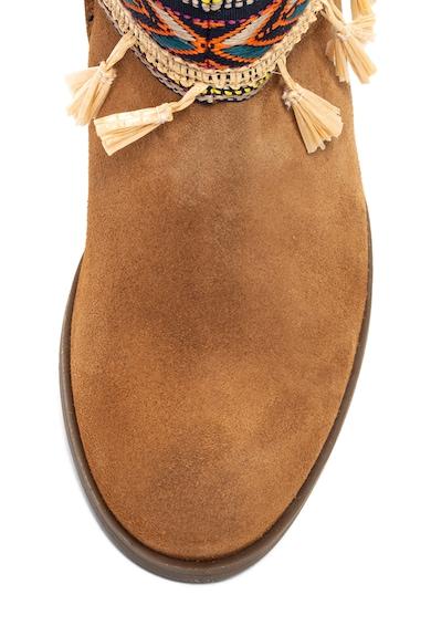 DESIGUAL Soho rövid szárú nyersbőr csizma etno mintás hímzéssel női