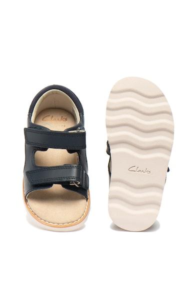 Clarks Кожени сандали Crown Root с велкро Момичета