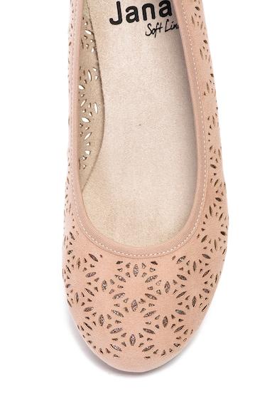 Jana Shoes Balerini de piele intoarsa ecologica, cu perforatii Femei