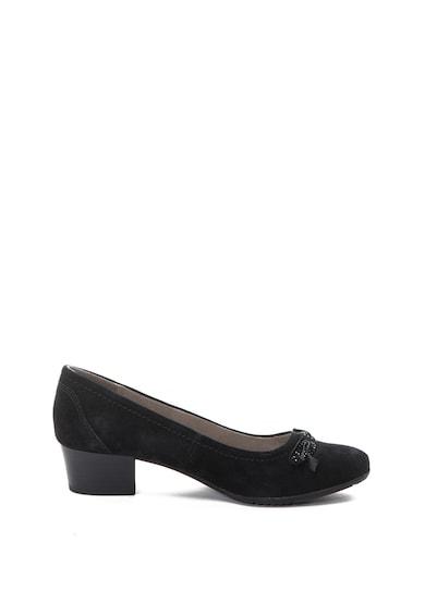 Jana Shoes Велурени обувки с остър връх и масивен ток Жени