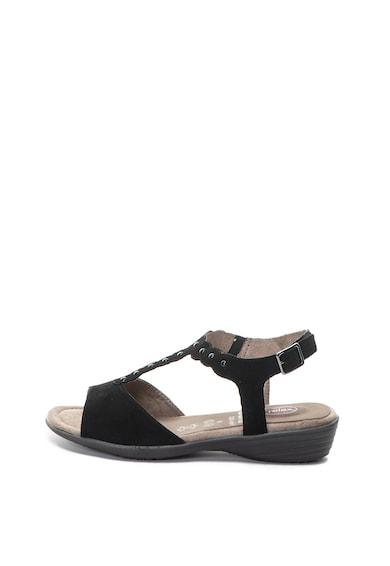 Jana Shoes Велурени сандали с нитове и скосена платформа Жени
