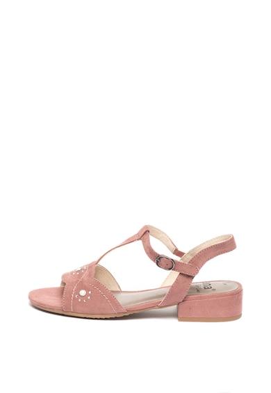 Jana Shoes Sandale de piele intoarsa ecologica, cu strasuri si bareta T Femei