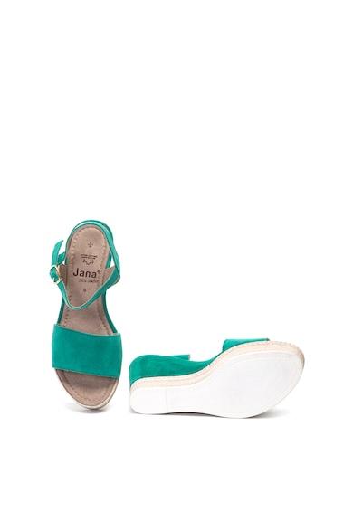 Jana Shoes Sandale de piele intoarsa, cu talpa wedge Femei