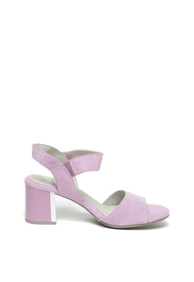 Jana Shoes Sandale de piele intoarsa cu toc masiv si velcro Femei