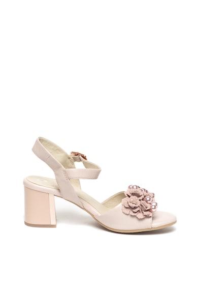 Jana Shoes Sandale de piele decorate cu perle sintetice si flori Femei