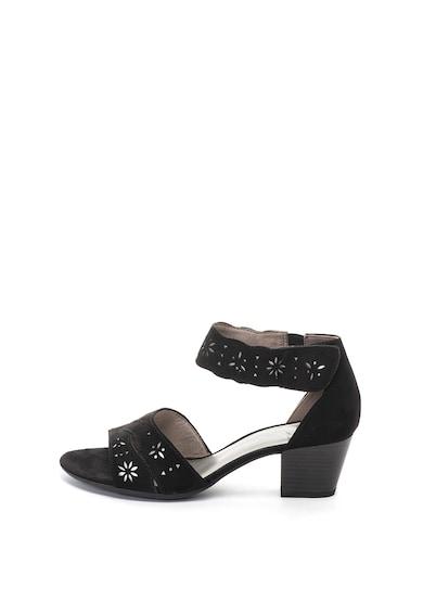 Jana Shoes Sandale de piele intoarsa ecologica, cu bareta pe glezna Femei