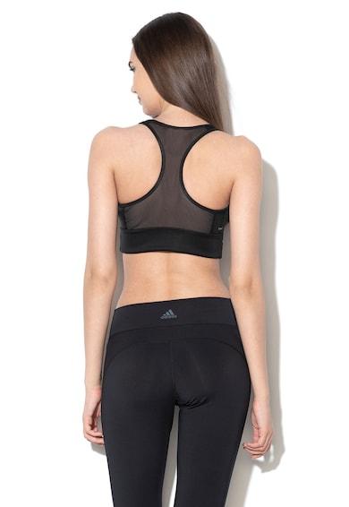 Adidas PERFORMANCE Bustiera cu spate decupat si imprimeu logo, pentru fitness Femei