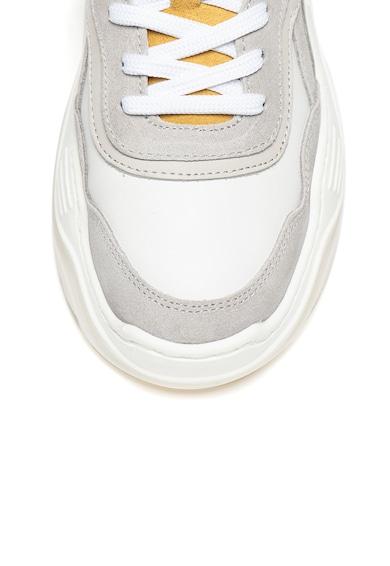 Bullboxer Pantofi sport de piele si piele intoarsa cu talpa wedge si garnituri contrastante Femei