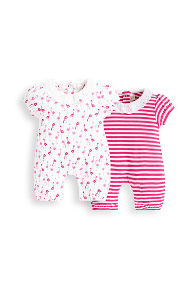 JoJo Maman Bebe Set de salopeta cu imprimeu Flamingo si dungi - 2 piese, Roz aprins/Alb Fete