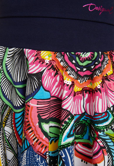 DESIGUAL Fusta cu croiala pe bie cu model floral Fete