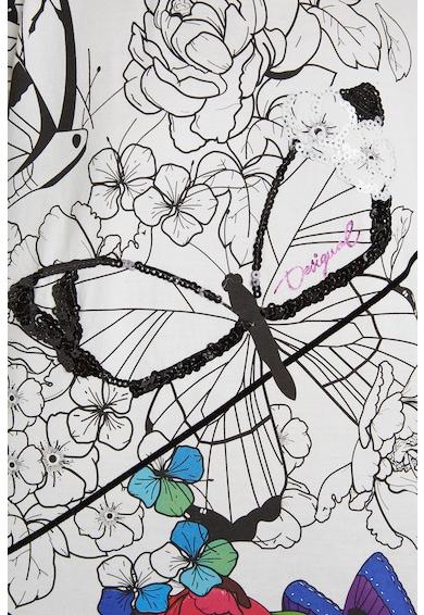 DESIGUAL Tricou cu imprimeu floral si fluturi Fete