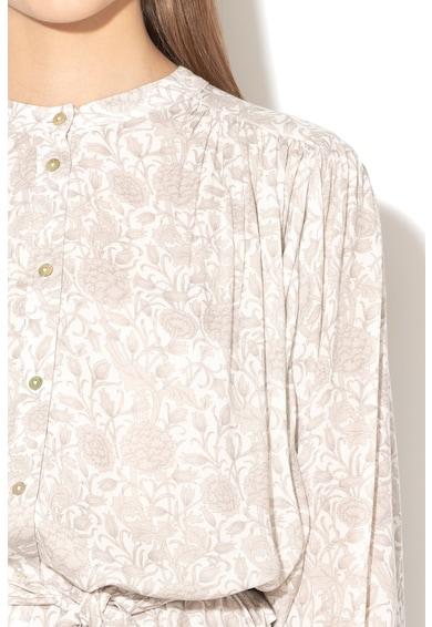 Stefanel Rochie midi cu model floral, maneci liliac si cordon Femei