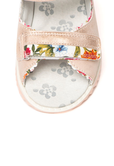 Lumberjack Sandale de piele ecologica si material textil, cu aplicatie florala si logo Missy Fete