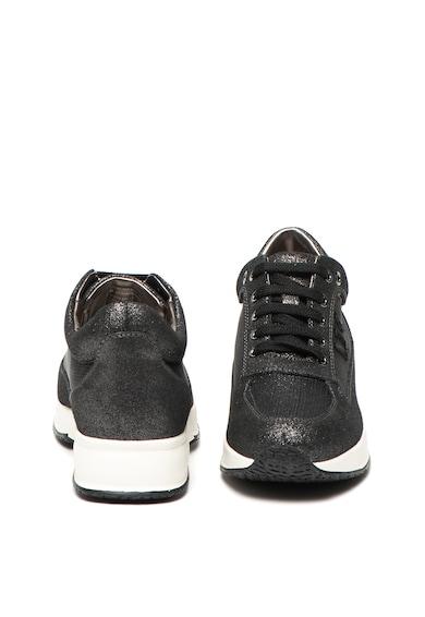 Lumberjack Pantofi sport de piele si panza, cu aspect stralucitor Raul Femei