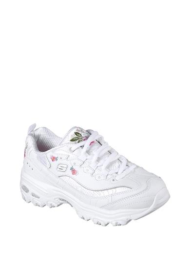 Skechers Pantofi sport de piele ecologica si piele peliculizata Bright Blossom Femei