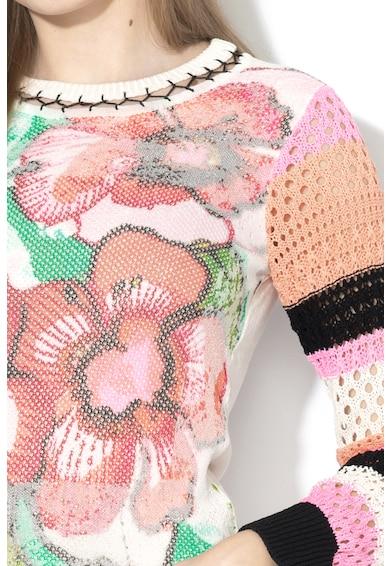 DESIGUAL Burdeos hálós anyagú felső kötött ujjakkal női
