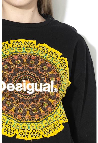 DESIGUAL Greve mintás pulóver dekoratív masnival női
