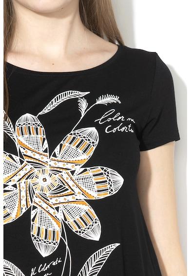 DESIGUAL Apaches mintás póló aszimmetrikus alsó szegéllyel női