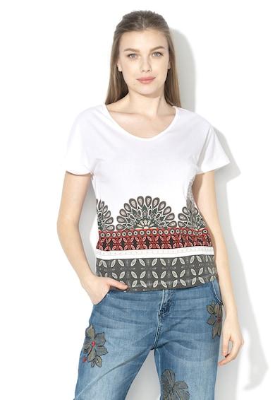 DESIGUAL Uma modáltartalmú V-nyakú póló strasszkövekkel női