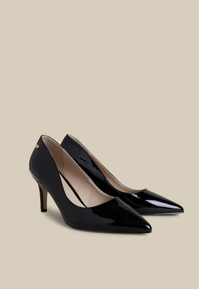 Oltre Pantofi clasici de piele ecologica cu toc si aspect lacuit Femei